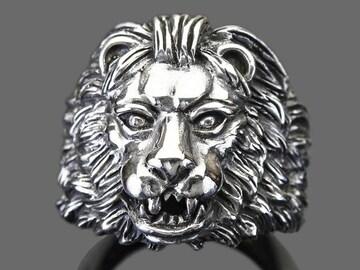 【RG-N071】SILVER925獅子(ライオン)ヘッドシルバーリング29号