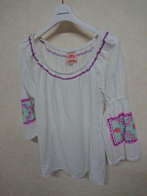 チチカカ/titicaca 刺繍8分袖カットソー フリー レース切替  < ブランドの