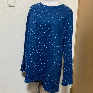 未使用品 3L 大きいサイズ ドット柄 ブルー 長袖カットソー
