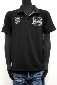 新品Norton202N1201ブルースチールワッペンポロシャツ黒 L