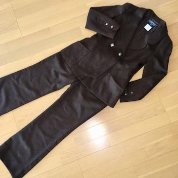 SALE シャネル スーツ 茶系ツイード パンツ ジャケット 38