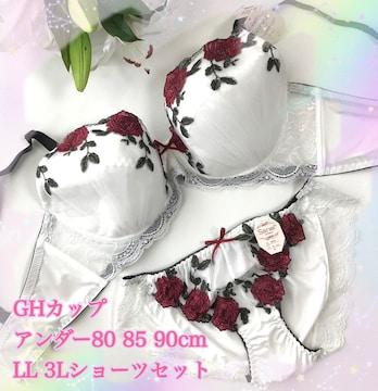 G80LL☆レース薔薇 ホワイト ブラ&ショーツ