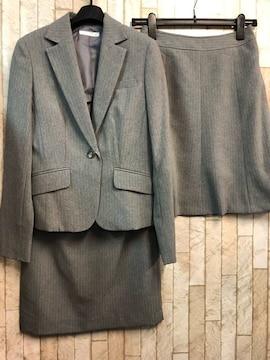 新品☆7号♪グレー系スカート2種類付スーツ♪オールシーズン☆j348