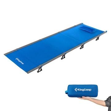 アウトドア 折りたたみベッド 枕と収納バッグ付き 軽量 ブルー