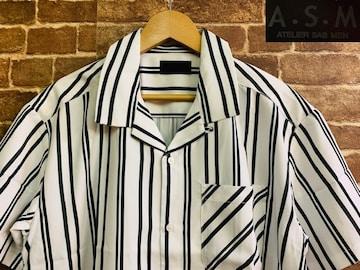 表記L/新品!A.M.S ストライプ 半袖 ポリシャツ 定価¥7700 サーフ ヒッピー