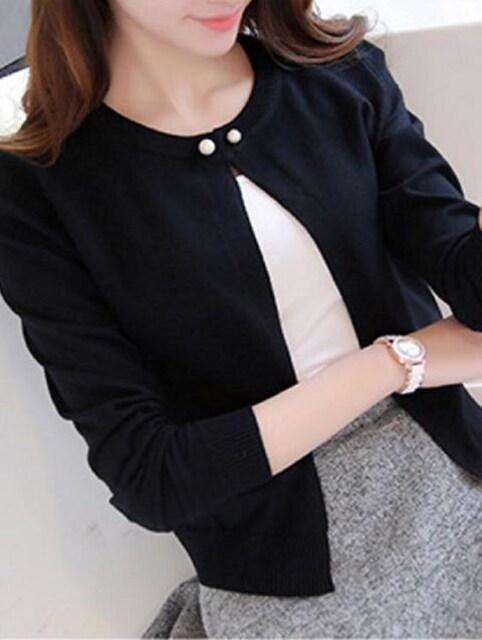 パール調ボタン★袖ショート丈カーディガン (Lサイズ黒) < 女性ファッションの