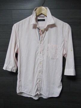 □RAGEBLUE/レイジブルー ワイヤー襟 5分袖 シャツ/メンズM/ピンク