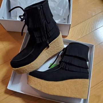 マダムミーナ 石井美奈子 フリンジデザイン ショートブーツ スエード 厚底