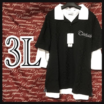 3L・重ね着・レイヤード七分ポロシャツ新品/MCAb-909