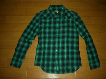 マーブルズMARBLESウエスタンチェックシャツS緑系TMT