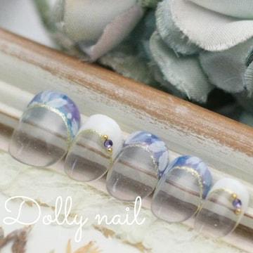 みぢょ!チビ爪ベリショ爽やかブルー紫フレンチ花柄フラワーネイル