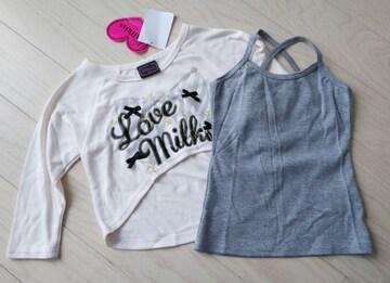 100★Milkiss★おしゃれトップス★Tシャツ+キャミソール★2点セット★新品