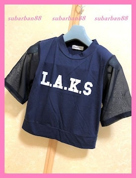 ☆WEGO☆フレアシフォン袖ロゴTシャツ紺☆