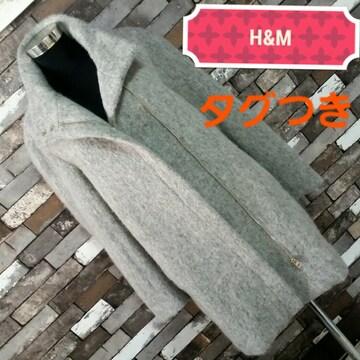 グレー H&M ライダースコート