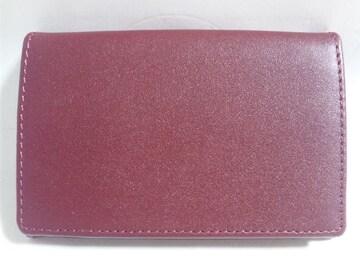 10583/新品未使用品★レッド系カラーのレザー革カード名刺ケース/プレゼント用に