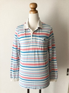 [LACOSTE]★ボーダー柄ポロシャツ・ポケット付き・size[2]★