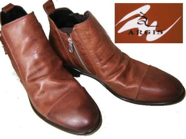 ARGIS アルジス本革 左右サイドジッパー ブーツ42219DBR44  < 男性ファッションの