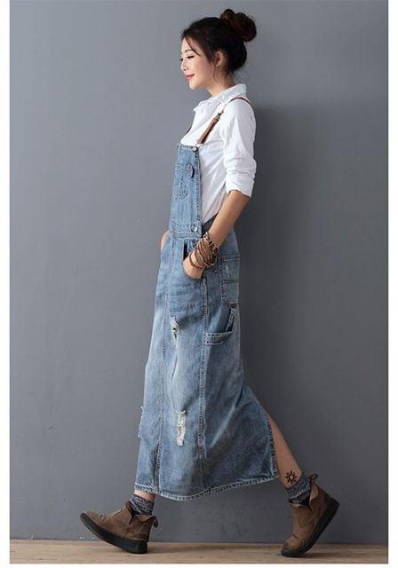 ビンテージ風★デニムサロペットロング丈ワンピース(Sサイズ) < 女性ファッションの