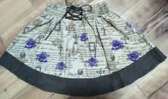 アンクルージュAnkRouge編み上げ英字パープル紫薔薇スカート美品ゴスロリィタaxes