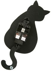 黒ネコのしっぽが振り子になった可愛いかわいい振り子時計/新品