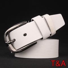 高品質 クロコダイル 革 光沢カジュアル レザーベルト 白色