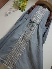 ★新品タグ5L★インド綿★刺繍ワンピ(七分袖)