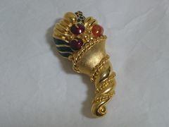 正規美 セレブ ランバンLANVIN ヴィンテージ ストーン装飾ゴールドブローチ 金 兼用