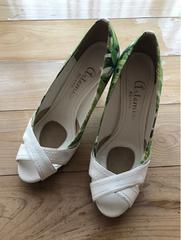 美品 ダイアナ DIANA オープトゥパンプス 23.5 レディース 靴
