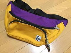 チャムスCHUMSウエストポーチ黄紫ボディバッグ