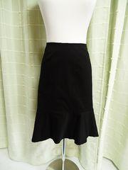 ◇アンタイトル 黒 裾フラウンス トランペットライン 可愛い♪スカート