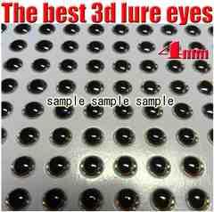 ジグ・ルアー等 目玉シール(3D) 4mm 100個