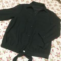 新品◆前リボン七分袖ブラウス◆Mブラック黒