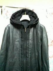 シェラックshellac44フェイクレイヤーレザーパーカーシャツブルゾン黒