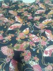 ☆処分品新品紺×花扇子牡丹梅桜和柄ダボシャツ140