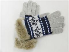 スマホ手袋★北欧★ノルディック 雪の結晶柄★IVORY◆新品タグ付