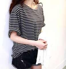 送料無料 ゆったり白黒ボーダーTシャツ ブラック L