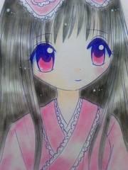 オリジナル自作イラスト原画.北海道の女の子.和ロリ