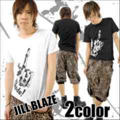 ※JILL BLAZE※悪羅悪羅★ボーンFUCKプリント*クールネックTeeシャツ白L