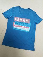ARMANI EXCHANGE◆アルマーニデカロゴTシャツ青L
