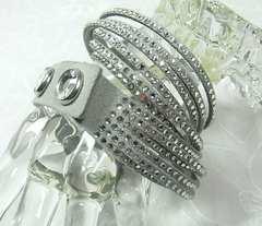 500スタ本物正規極美品スワロフスキーSlakeクリスタルGrayブレスレット1179236
