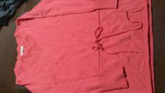 即決☆38(Mサイズ位)濃いピンク長袖ニットチュニック
