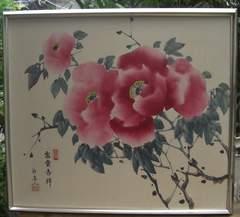 水彩画/富貴吉祥「ボタン」富貴花/;額入り(白亭作)中古品!!