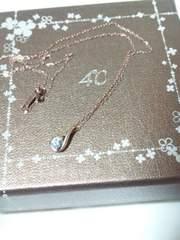 ヨンドシー【4℃】K10 ブルーストーン ティアドロップ ジュエリー ネックレス