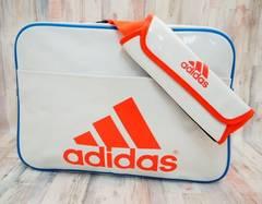 adidas アディダス エナメルバッグ ショルダーバッグ L 白赤青
