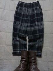 ●ニコル●極暖チェック ハンパ丈パンツ 未使用