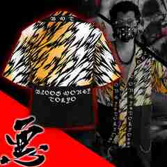 送料無料/ヤンキーチンピラオラオラ系和柄ベースボールシャツ/B系HIPHOP服15007-XXL