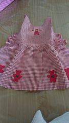 ミキハウス中古美品100センチスカート赤ギンガムチェック