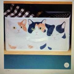 フェリシモ猫部・香箱座りブチ柄猫イラスト収納ボックス。