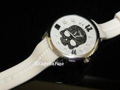 新品☆ジルコニア 白 ラバー スカル腕時計/ハイドロゲン好きに