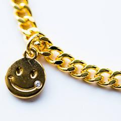 小スマイル型コイン ゴールド チェーン3ミリ ブレスレット